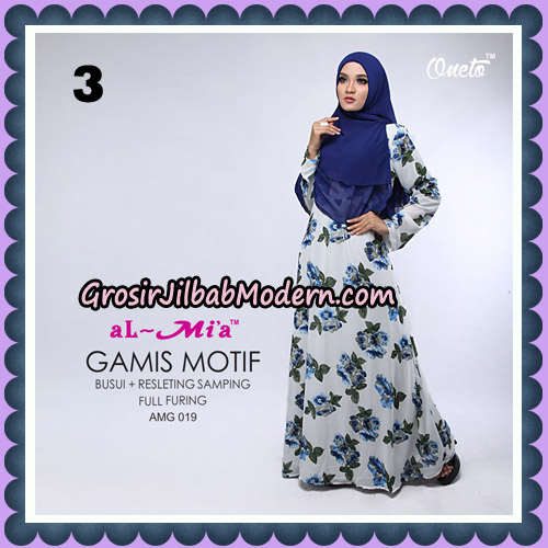 Gamis Motif Cantik AMG 019 Original By AlMia Brand No 3