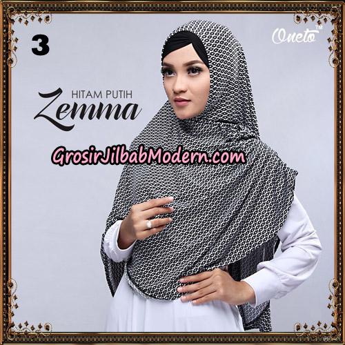 Jilbab Instant Cantik Zema Hitam Putih Support Oneto Hijab No 3