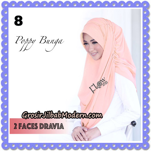 Jilbab Instant 2 Faces Dravia Poppy Bunga Original By Flow Idea Hijab No 8