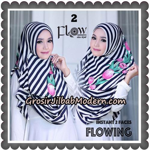 Jilbab Instant 2 Faces Flowing Stripe Original By Flow Idea No 2