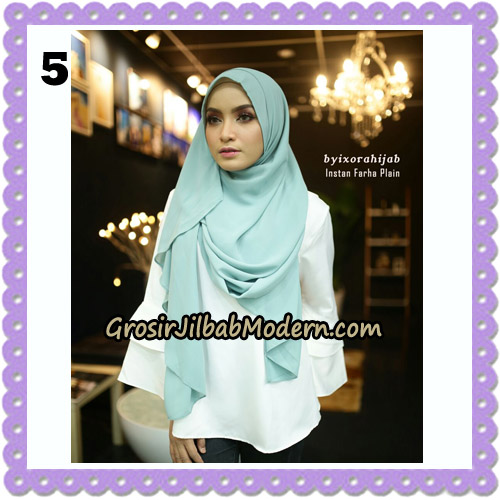 Jilbab Instant Cantik Farha Plain Original by Ixora Hijab Brand No 5