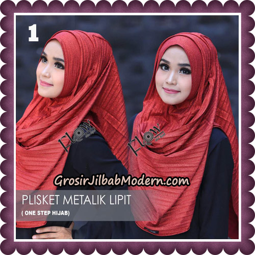 Jilbab Instant Plisket Metalik Lipit Original By Flow Idea Hijab No 1