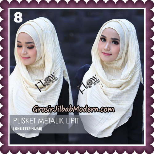 Jilbab Instant Plisket Metalik Lipit Original By Flow Idea Hijab No 8