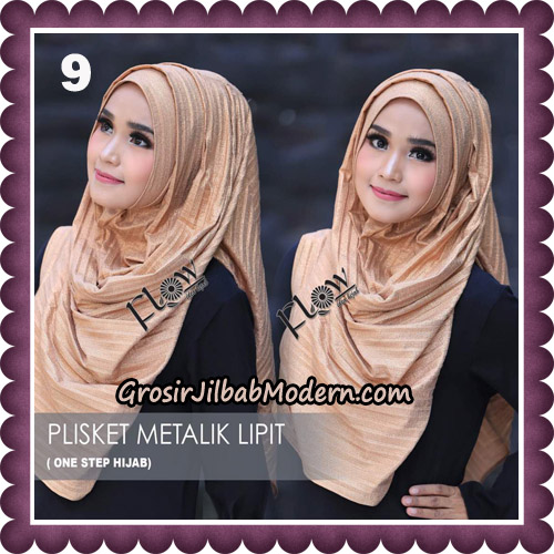 Jilbab Instant Plisket Metalik Lipit Original By Flow Idea Hijab No 9