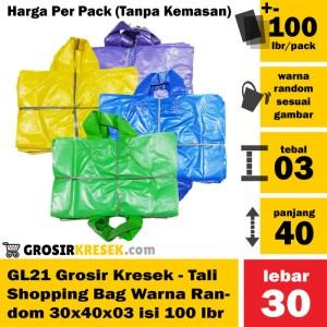 GL21 Grosir Kresek Plastik Shopping Bag Tali Random 30x40x03 100 lbr