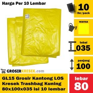GL15 Grosir Kresek Plastik LOS Trashbag Kuning 80x100x035 isi 10 lbr