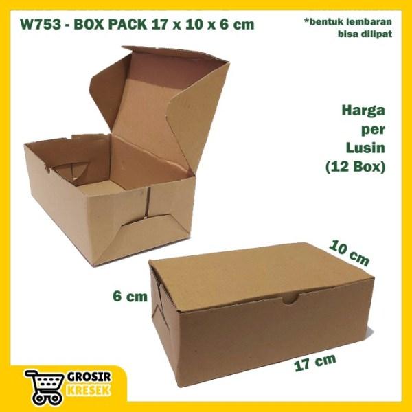 W753 Kardus Pack 17 x 10 x 6 cm Box Polos Coklat Karton Die Cut Lusin