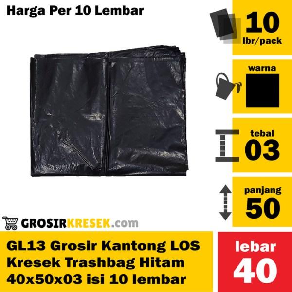 GL13 Grosir Kresek Plastik LOS Trashbag Hitam Murah 40x50x03 isi 10lbr