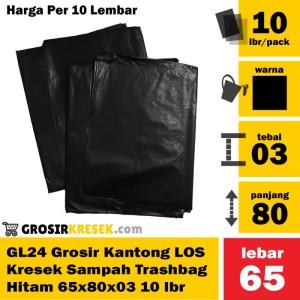 GL24 Grosir Plastik Sampah LOS Trashbag Hitam 65x80x03 isi 10 Lembar