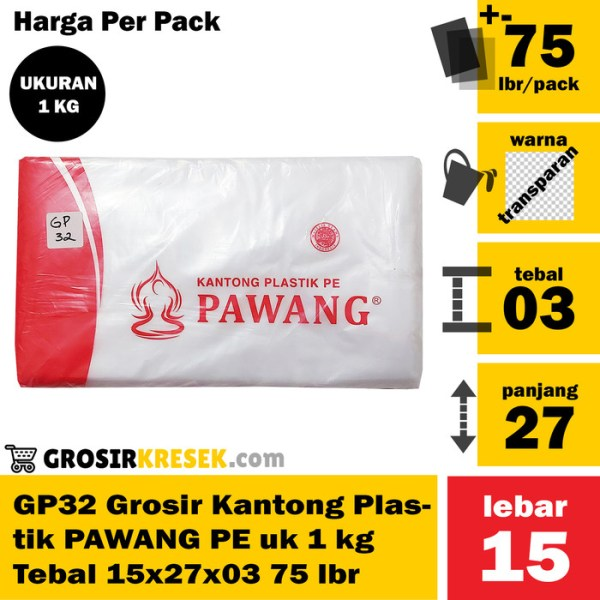 GP32 Grosir Kantong Plastik PAWANG PE uk 1 kg Tebal 15x27x03 75 lmbr
