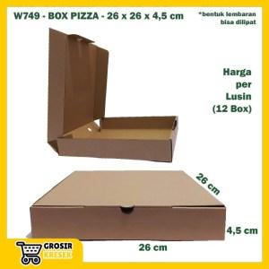 W749 Kardus Box Pizza 26 x 26 x 4,5 cm Dus Polos Coklat Die Cut Lusin