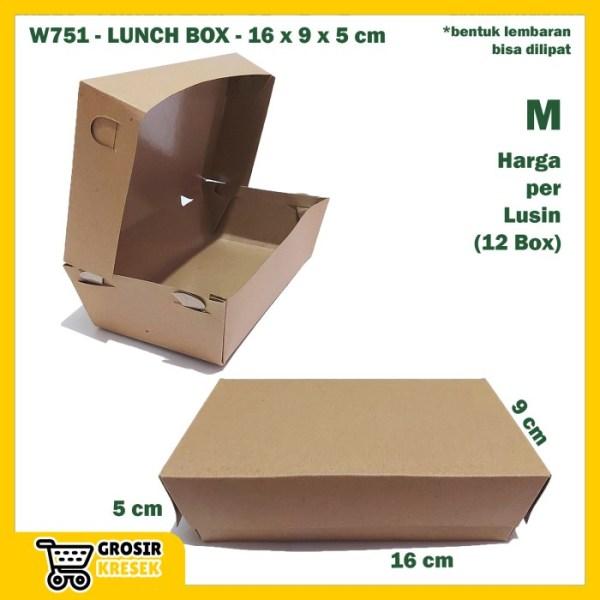 W751 Kardus Lunch Box M 16 x 9 x 5 cm Dus Polos Karton Die Cut Lusin