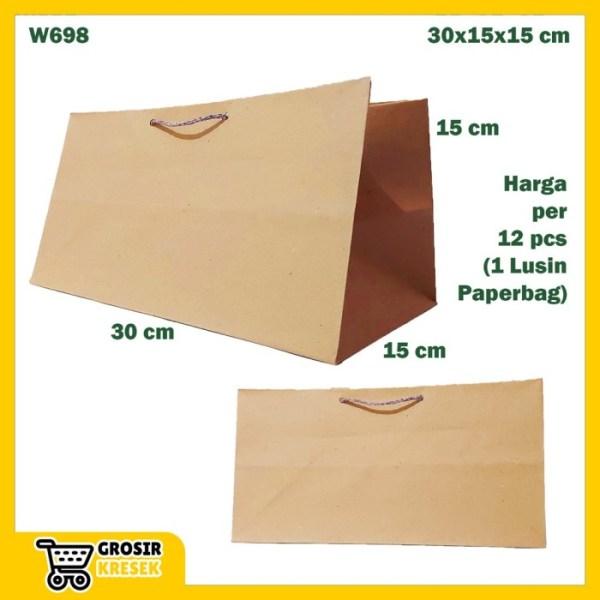 W698 Paperbag Coklat Polos Besar Goodiebag Paper Panjang 30x15x15cm