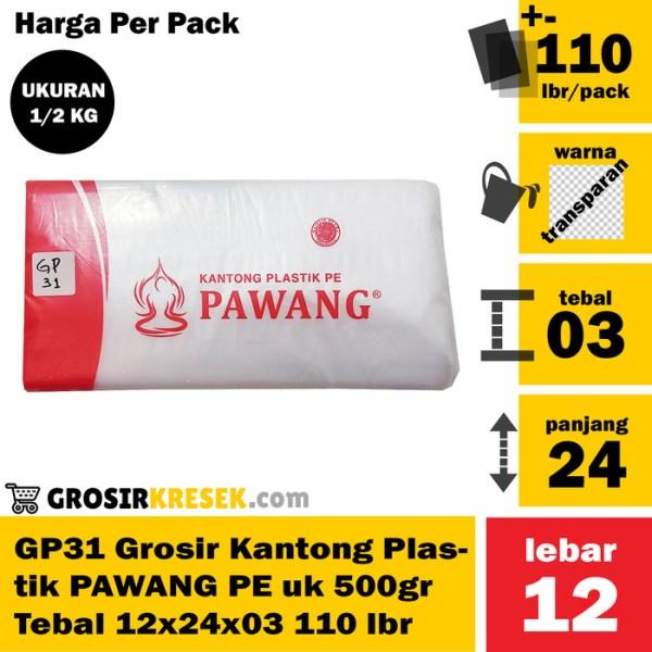 GP31 Grosir Kantong Plastik PAWANG PE uk 500gr Tebal 12x24x03 110 lmbr