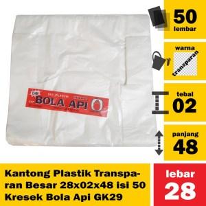 Kantong Plastik Transparan Besar 28x02x48 isi 50 Kresek Bola Api GK29