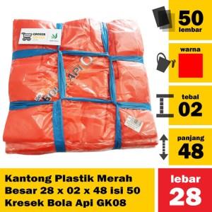 Kantong Plastik Merah Besar 28 x 02 x 48 isi 50 Kresek Bola Api GK08