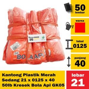 Kantong Plastik Merah Sedang 21 x 0125 x 40 50 lb Kresek Bola Api GK05