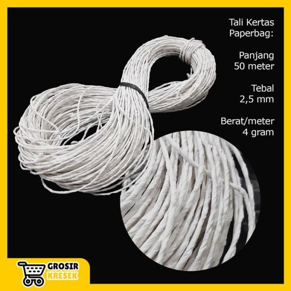 W570 Tali Kertas Putih Paper Bag Goodie Bag Pegangan Paperbag 50m