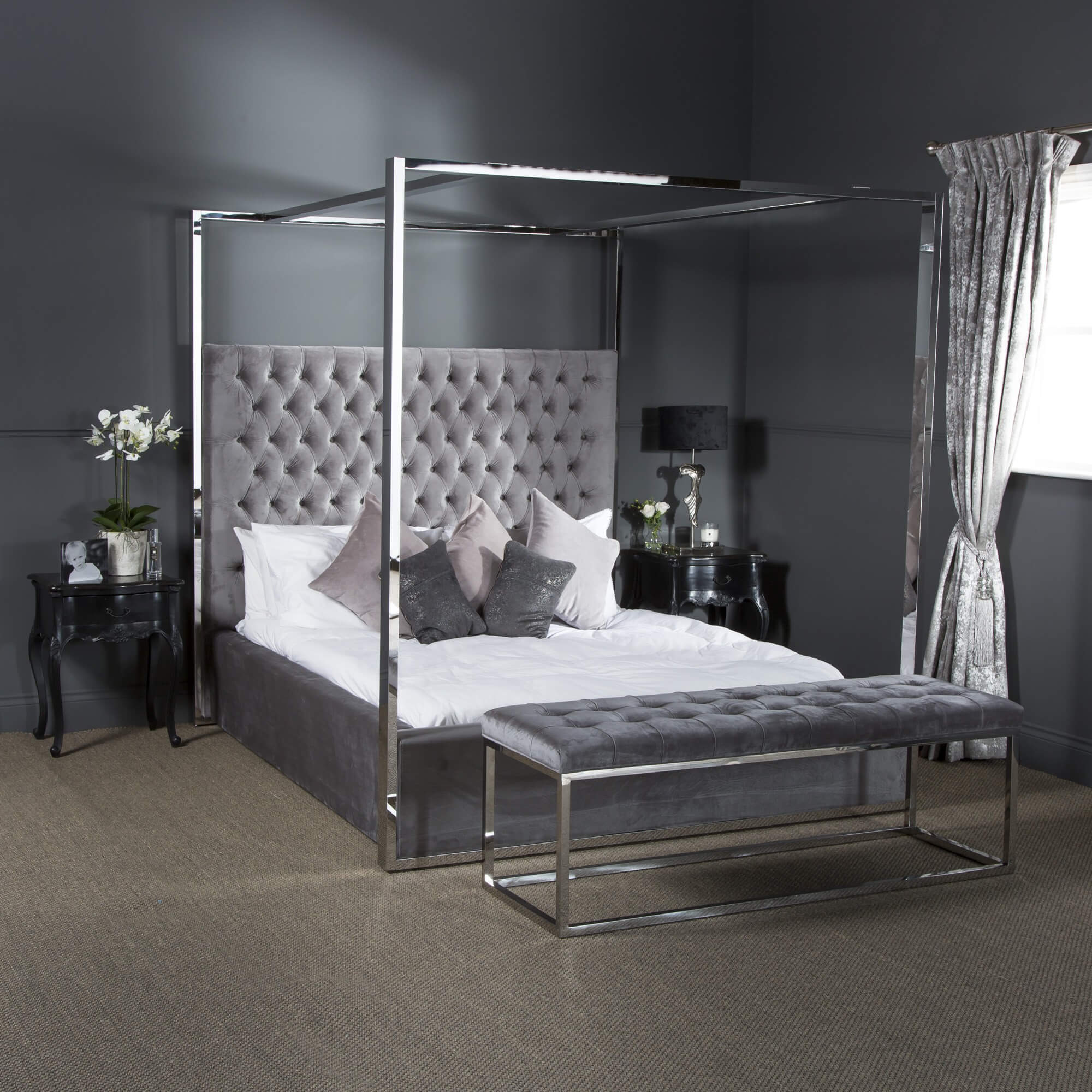 king size boston polished steel four poster bed