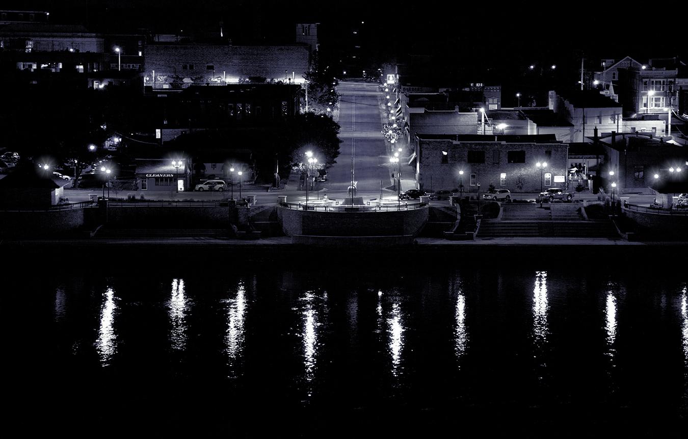 Riverfront, Dixon, IL, at night