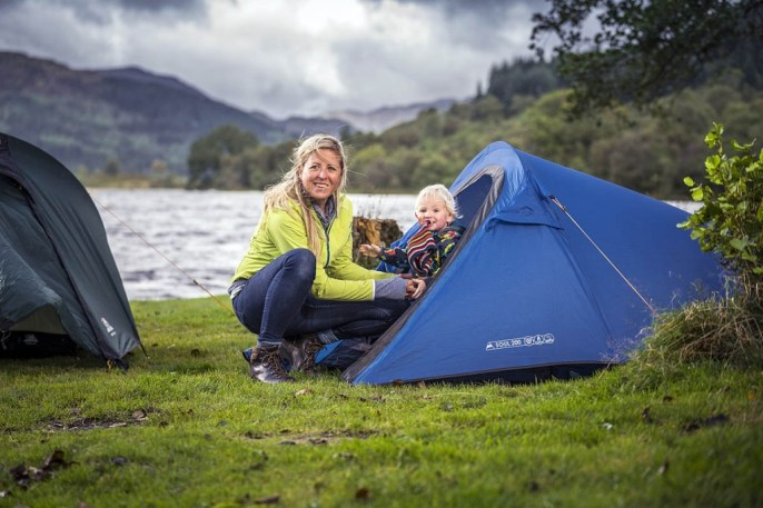 Family camping at the Loch Chon site. Photo: Loch Lomond and the Trossachs NPA