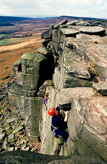 Climbers on Stanage Edge. Photo: Peak District NPA