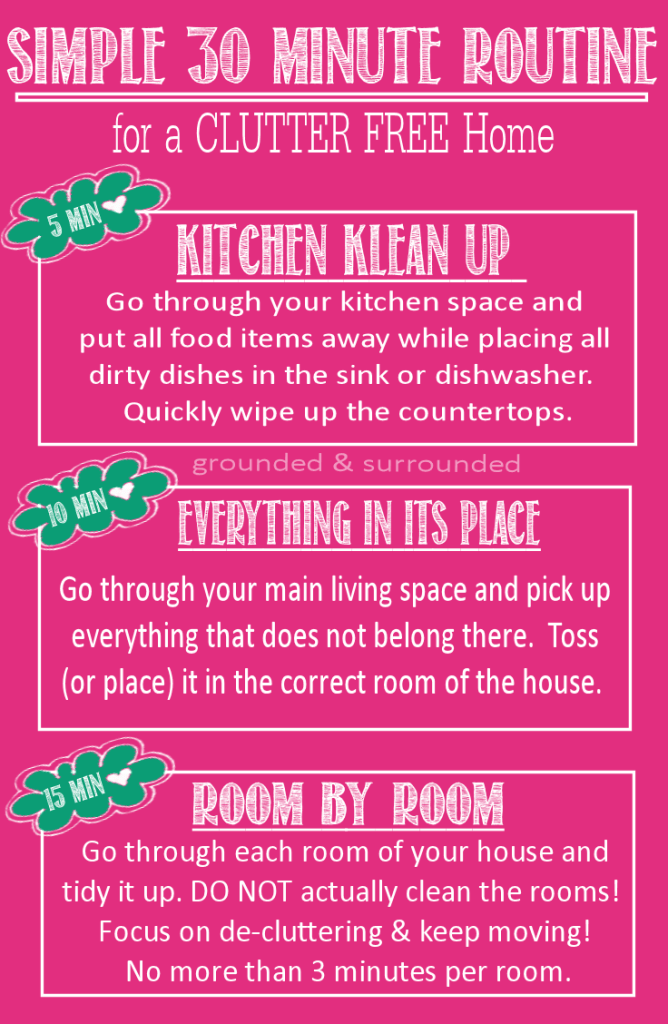CLUTTER increases STRESS & decreases PRODUCTIVITY! You need this Simple 3-Step Plan to quickly de-clutter, de-stress, & get stuff done! Don't you just feel better when the house is picked up and organized?! https://www.groundedandsurrounded.com/clutter-stress-get-stuff-done/