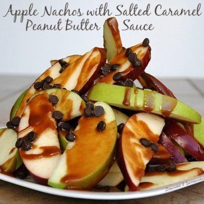 Apple Nachos with Salted Caramel Peanut Butter Sauce