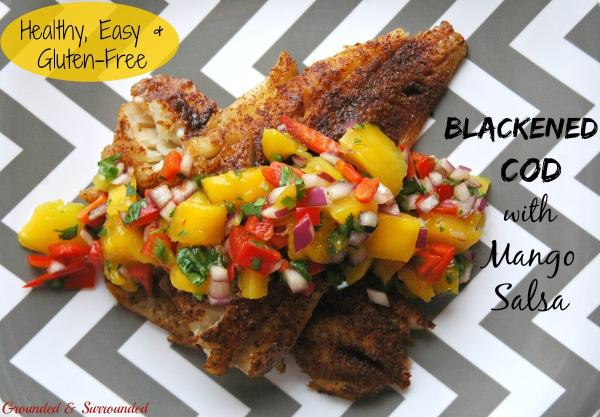 This healthy grilled cod with colorful mango salsa comes together SO quickly! Aren't easy weeknight meals the best? The smokey spiciness of the fish paired with the sweet yet tangy salsa is a flavor explosion! This simple, gluten-free, and clean-eating recipe is sure to impress. Who says healthy food is boring?! Not us! https://www.groundedandsurrounded.com/recipe/blackened-cod-with-mango-salsa/