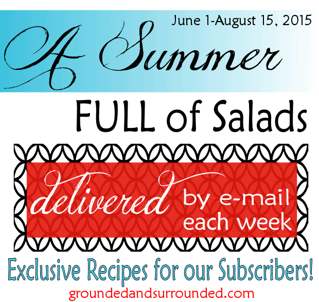 Want clean eating, whole food galore, DELICIOUS salads to make all year long! We have created a digital cookbook that contains all of the salad recipes we shared during the summer of 2015.  Click HERE to download your FREE copy today! Pizza Salad, anyone?! https://www.groundedandsurrounded.com/summer-full-of-salads/
