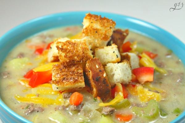 This quick and easy stovetop Whole Foods Makeover Cheeseburger Soup has all the flavors of a cheeseburger while still being healthy and gluten free! Try using lean ground venison or ground turkey like we did. You can also make this low carb by omitting the potatoes, there are 4 other veggies, you won't even notice. This skinny recipe is the best we have tasted especially garnished with pickles!