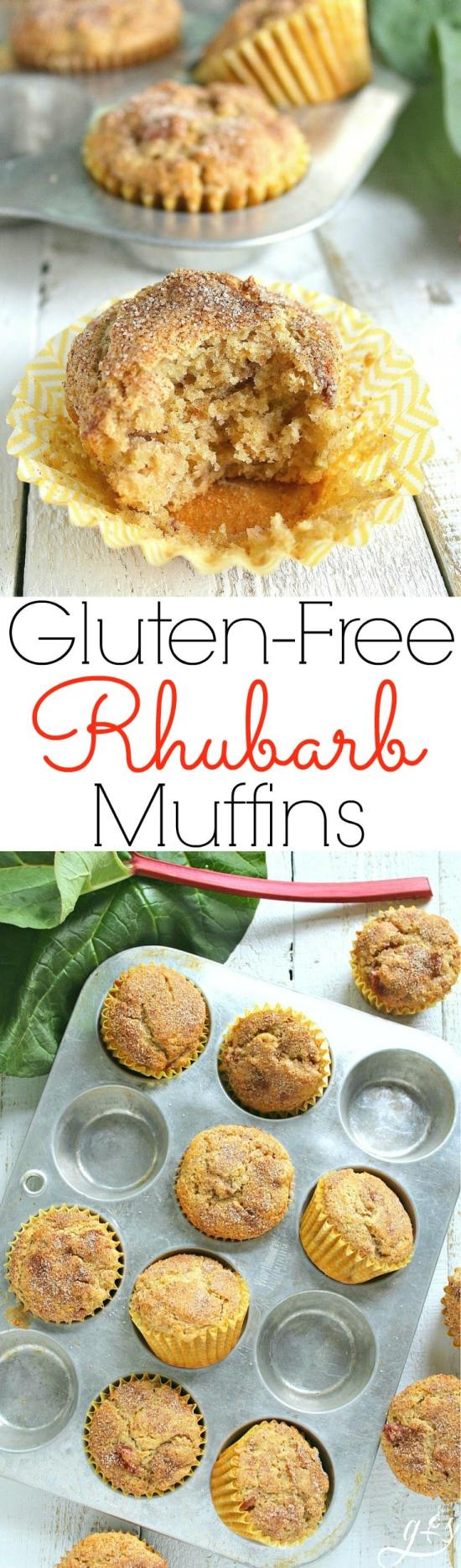 The BEST Gluten-Free Sour Cream Rhubarb Muffins | This easy and healthy breakfast or brunch recipe uses gluten-free flour, but don't let that scare you off. They can be made with whole wheat pastry flour and still retain their light and soft texture. The batter contains coconut oil and applesauce along with other real food ingredients and is topped with the perfect mixture of cinnamon-sugar. These also freeze well!