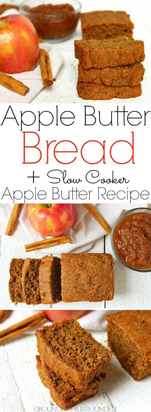 The BEST Apple Butter Bread + Slow Cooker Apple Butter Recipe   This gluten-free sweet bread is our favorite fall breakfast recipe! If you are looking for an easy sweet bread recipe to make the most of autumn flavors make this healthy crock pot apple butter AND then bake this bread! Baking when the weather turns crisp is my favorite activity. This batter makes a wonderful muffin to pack in school lunches and to freeze for those busy mornings too!