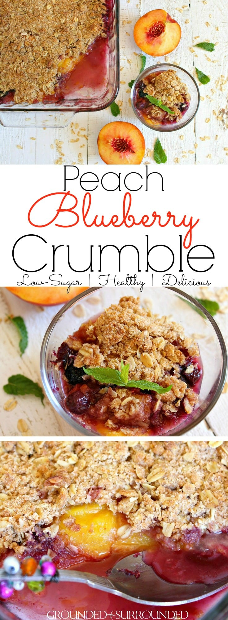 This easy and healthy dessert (it is also delicious for breakfast / brunch) recipe is sure to please your sweet tooth! This crisp can be made gluten-free and refined sugar-free by using almond flour and coconut sugar. Fresh summer recipes like this are always my favorite because you can actually taste the sweetness of the fruit. But don\'t worry this recipe is indulgent and satisfying. Did I mention the butter? ;) #brunch #breakfast #summer