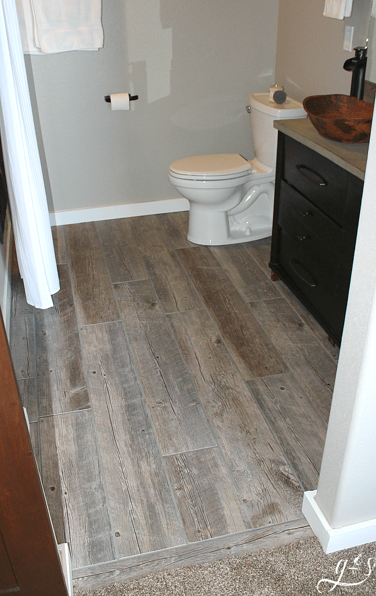 how to tile a bathroom floor with plank tiles grounded surrounded rh groundedandsurrounded com Wood Look Tile in Bathroom Plank Tile On Walls