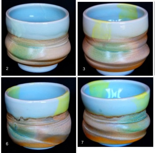 Ocean Blue and Sand Beach Tea Bowls