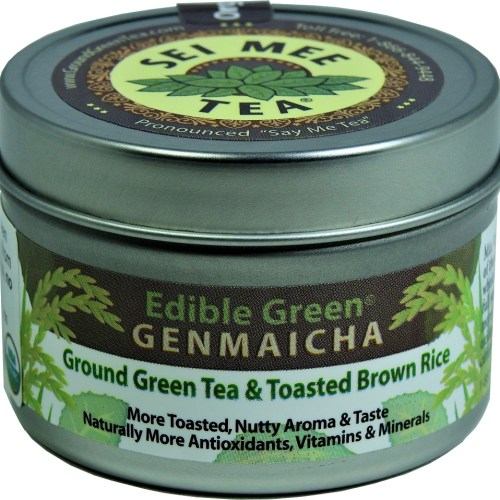 Organic GENMAICHA Edible Green tea powder 30 cup tin