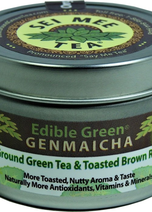 Organic GENMAICHA Edible Green tea powder 30 cup tin