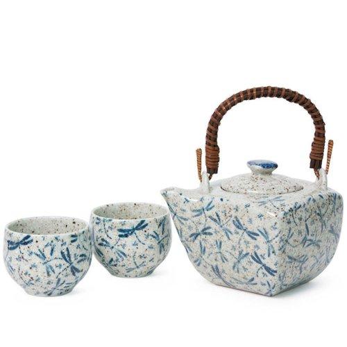 Indigo blue dragonfly tea set