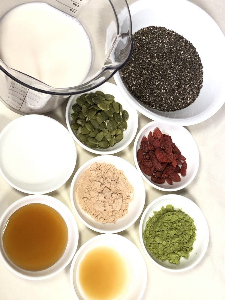 matcha chia pudding ingredients