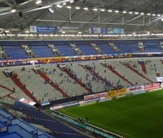 The Stands Of The Home Fans Literally Stands As Schalke Nurnberg Will Be A Domestic Game So There Are No Seats In Those Blocks