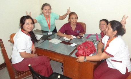 The Peru staff and clinical leads having some well-earned fun at the end of a long day