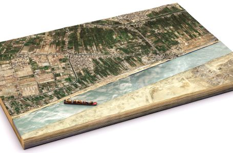 Ever Given ship stuck in Suez Canal, 3D view based on satellite images