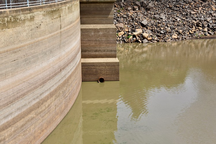 Photo of dam with low water