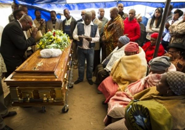 The funeral of one of the miners who died at Marikana. Photo by Greg Marinovich.