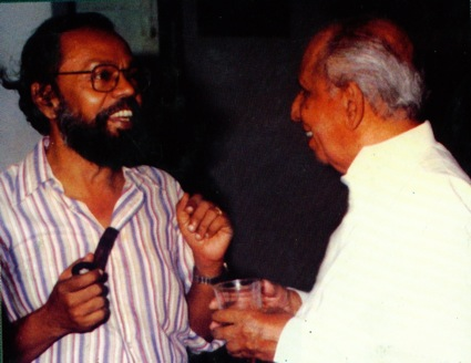 A J Gunawardana with film director Lester James Peries
