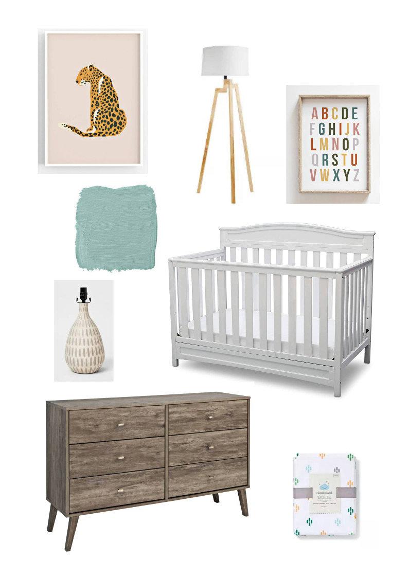 Mid-century modern colorful nursery mood board