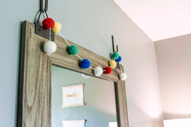 Primary color pom pom garland