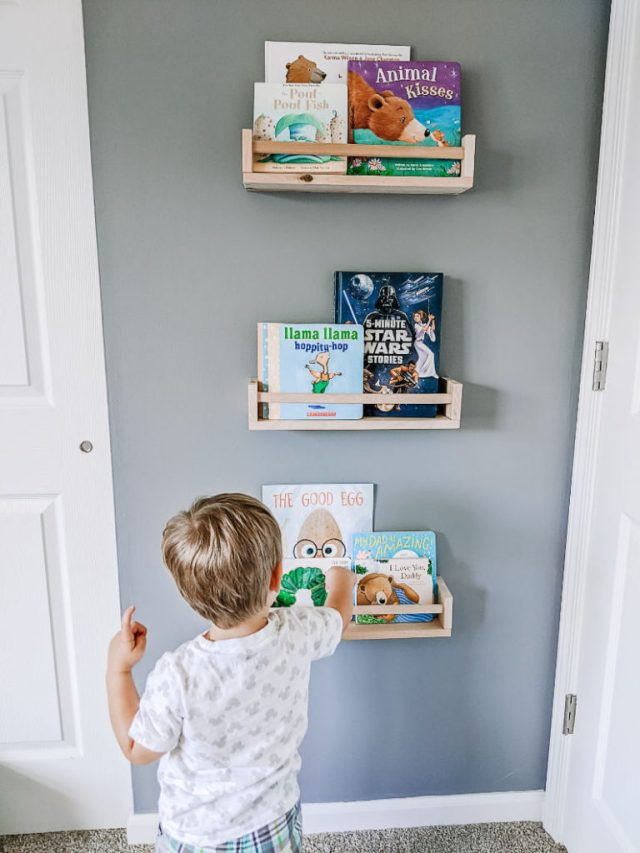 IKEA Bekvam spice rack shelves as bookshelves in nursery or toddler room