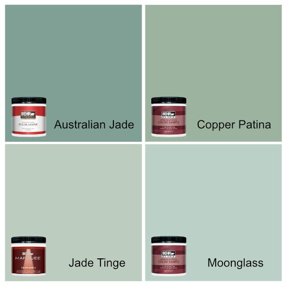 Australian Jade, Copper Patina, Jade Tinge, and Moonglass Behr Paint colors